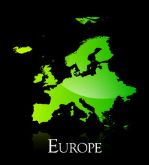 Europe green shiny map