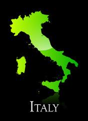 Italy green shiny map