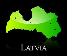 Latvia green shiny map