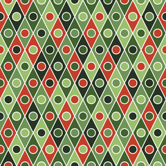 Retro seamless pattern with colorful rhombuses and circles.