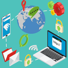 web isometric online safety data protection secure connection