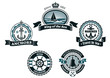 Heraldic blue nautical labels and badges