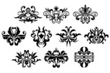 Black floral curly design elements