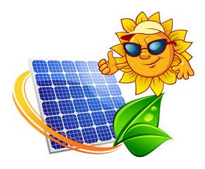 Cartoon sun in front of solar panel