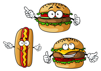 Hamburger, cheeseburger and hot dog cartoon characters