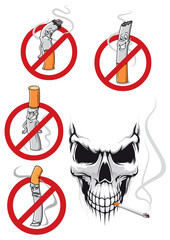 Cartooned smoking skull and no smoking signs