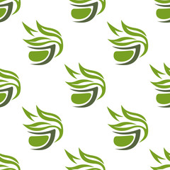 Green or herbal tea cups seamless pattern