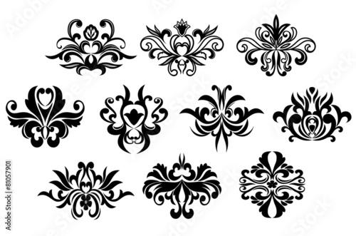 Black floral curly design elements