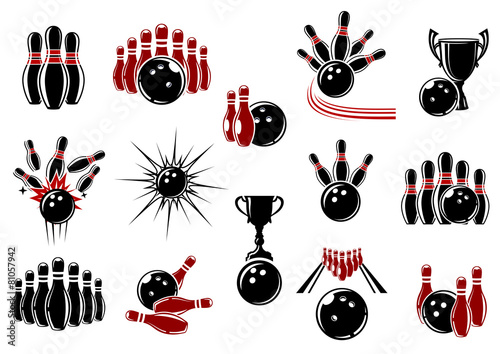 Bowling symbols with equipment and decorative elements - 81057942