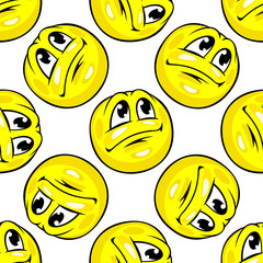 Cartoon yellow emoticons seamless pattern
