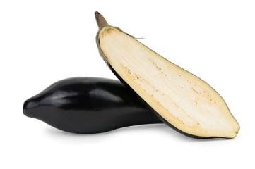 Cut ripe eggplant or aubergine vegetable isolated on white