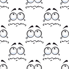 Seamless pattern with crying comics faces