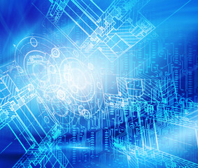 Abstract blue background. Technology background