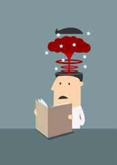 Businessman with brain explosion in head