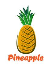 Cartoon fresh isolated pineapple fruit