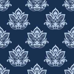 Seamless abstract paisley foliage composition pattern