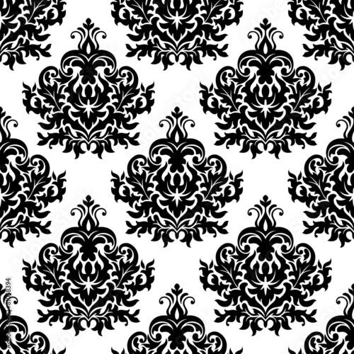 Aluminium Kunstmatig Victorian black damask seamless pattern