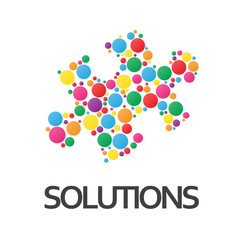 SOLUTIONS icon (ideas questions and answers jigsaw piece)