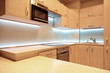 Modern luxury kitchen with white LED lighting - 81058779
