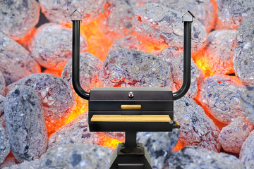 Multifunctional cooking oven, glowing charcoal.