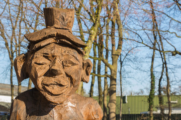 Wooden figure sculpttured with a chain saw