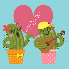 loving couple of cactus singing and playing guitar