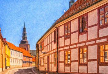 Ystad Crescent Street Digital Painting