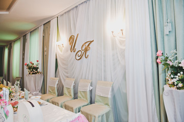 The wedding hall decorated with a fabric 2182.
