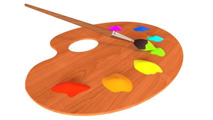 Palette, paints and paintbrush