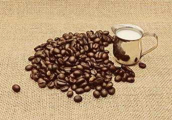 Retro photo of coffee beans