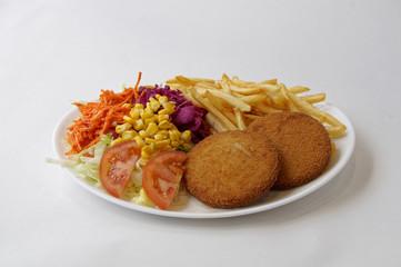 Assiette poisson pané grillé