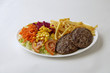 Assiette steack hamburger et frites - 81060957