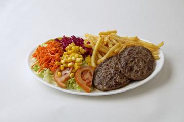 Assiette steack hamburger et frites