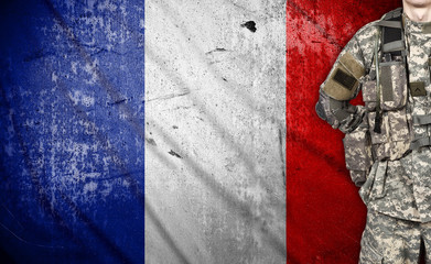 soldier with France flag