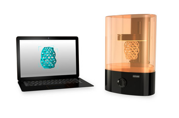 SLA  3D printer and Laptop computer on white background