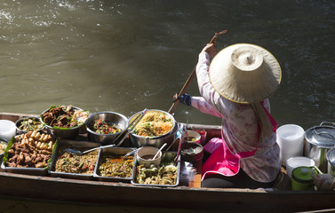 Vendor at Damnoen Saduak Floating Market Thailand