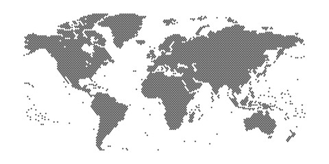 Weltkarte aus Punkten im Detail