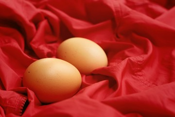 Vintage easter eggs on a red background