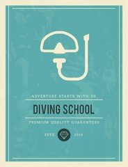 vintage poster for diving school