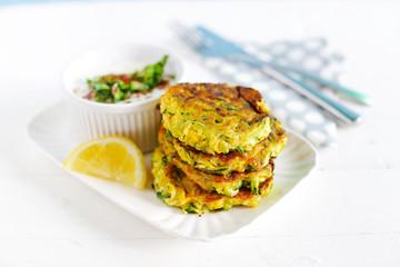 Vegetaran burgers, zucchini fritters, diet meal