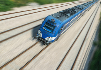 Intercity train in motion