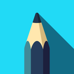 Pencil icon in flat style with long shadow