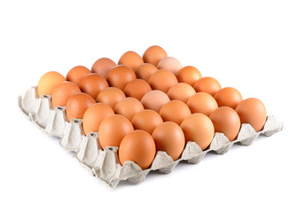 Chicken eggs in egg tray on white