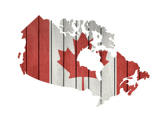 Map With Wooden Flag Of Canada