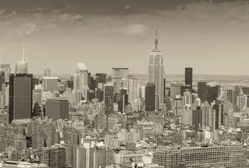 Stunning aerial skyline of Midtown Manhattan on a sunny day, New