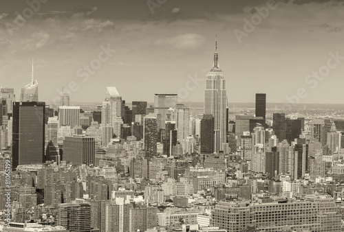 Stunning aerial skyline of Midtown Manhattan on a sunny day, New