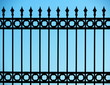 Old and rusty wrought iron fence - 81065354