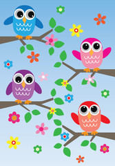 sweet colorful owls with a header