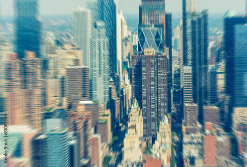 Skyscrapers. Midtown Manhattan helicopter blurred view