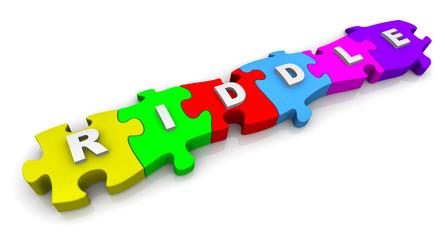 Загадка (riddle). Надпись на разноцветных пазлах